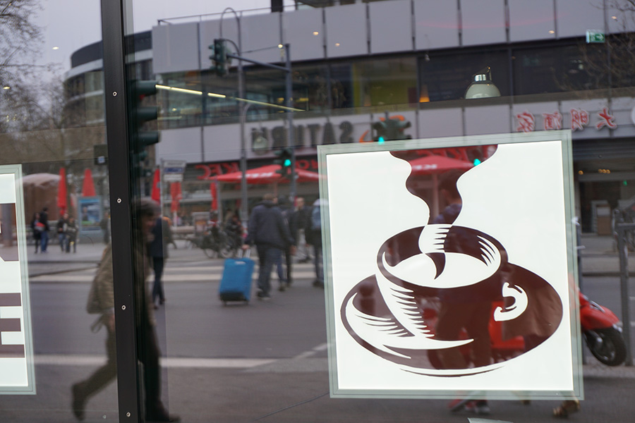 Photo of a coffee cup image on glass. Berlin, Germany