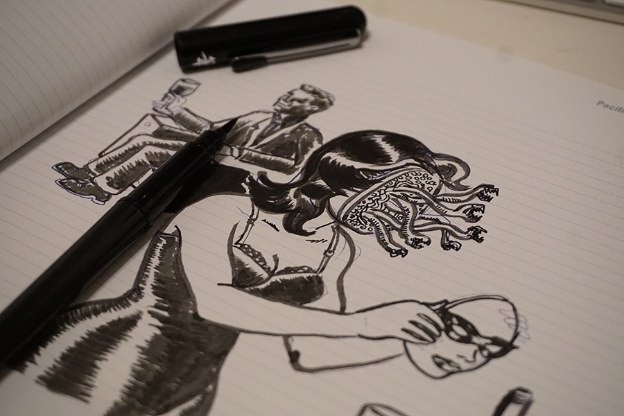 another close up photo of my sketchbook doing an inktober drawing.